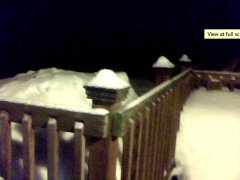 Shoveled snow pile on a deck