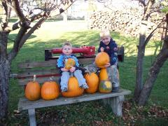 cORBIN AND xAVIOR WITH PUMPKINS