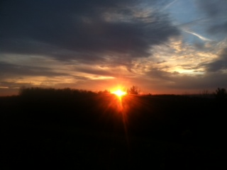 While in the woods,, sunset from hilltop